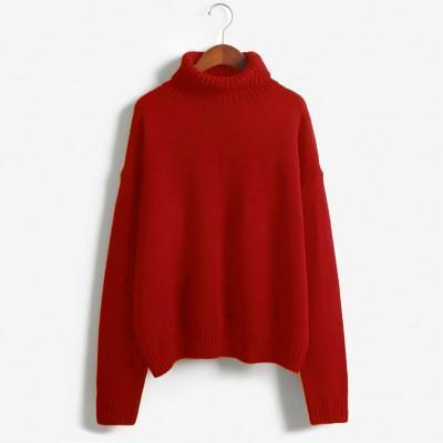 Vintage Women Sweater Long Sleeve Loose Turtleneck Knitted Pullover-Sweaters-Knitwear clothes Store-Red-XS-EpicWorldStore.com