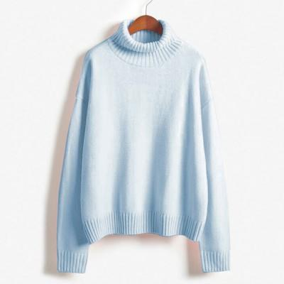 Vintage Women Sweater Long Sleeve Loose Turtleneck Knitted Pullover-Sweaters-Knitwear clothes Store-Sky Blue-XS-EpicWorldStore.com