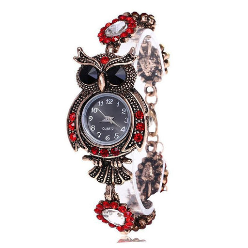 Vintage Women Watch Rhinestone Owl Quartz Bracelet Watch Beautiful Wristwatch Girls Jewelry Gifts-Women's Bracelet Watches-Shop2882035 Store-Red and Black-EpicWorldStore.com