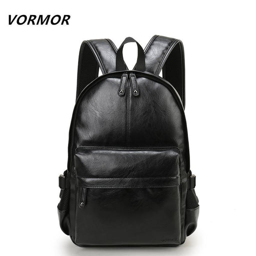 Vormor Brand Preppy Style Leather School Backpack Bag For College Simple Design Men Casual-VORMOR Official Store-Black-EpicWorldStore.com