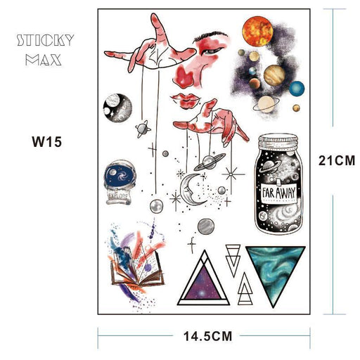 W15 1 Piece Outer Space Universe Temporary Tattoo With Space Geometric, Planet, Astronaut Pattern-Tattoo & Body Art-HimalayaStore-W0015-EpicWorldStore.com