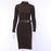 Wannathis Black Elegant Knitted Dresses Women Autumn Mock Neck Skinny Sweater Split Dress Ribbed-Dresses-WannaThis . Store-black-S-EpicWorldStore.com
