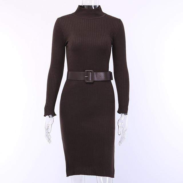 Wannathis Black Elegant Knitted Dresses Women Autumn Mock Neck Skinny Sweater Split Dress Ribbed-Dresses-WannaThis . Store-brown-S-EpicWorldStore.com