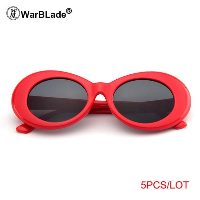 Warblade Clout Goggle Kurt Cobain Glasses Oval Sunglasses Ladies Vintage Retro Sunglasses-Sunglasses-WarBLade Store-5 red grey-EpicWorldStore.com