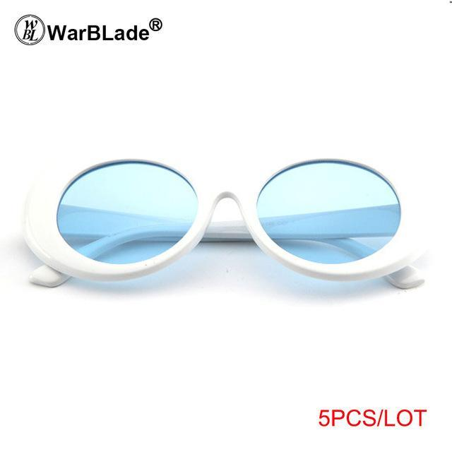 Warblade Clout Goggle Kurt Cobain Glasses Oval Sunglasses Ladies Vintage Retro Sunglasses-Sunglasses-WarBLade Store-5 white blue-EpicWorldStore.com