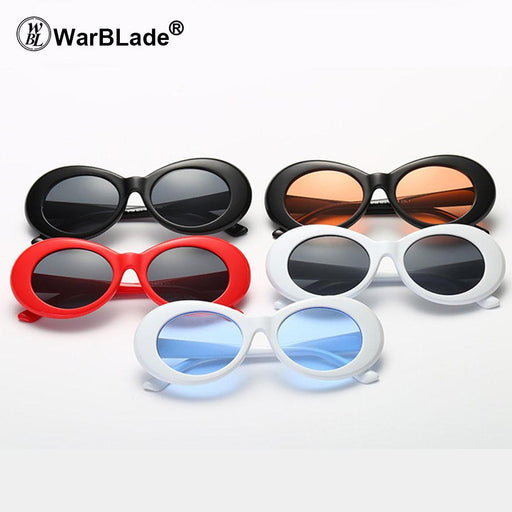 Warblade Clout Goggle Kurt Cobain Glasses Oval Sunglasses Ladies Vintage Retro Sunglasses-Sunglasses-WarBLade Store-5 white grey-EpicWorldStore.com