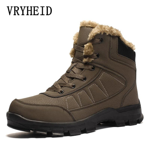 Warm Men Winter Boots Genuine Leather Fur Plush Snow Boots Waterproof Shoes For Men Outdoor Boots-Home-VRYHEID Factory Store Store-Black-7-EpicWorldStore.com