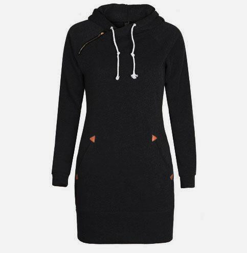 Warm Winter High Quality Hooded Dresses Pocket Long Sleeved Casual Mini Dress Sportwear Women-Dresses-iFashion (Hong Kong) Limited-Black-S-EpicWorldStore.com