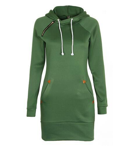 Warm Winter High Quality Hooded Dresses Pocket Long Sleeved Casual Mini Dress Sportwear Women-Dresses-iFashion (Hong Kong) Limited-Green-S-EpicWorldStore.com