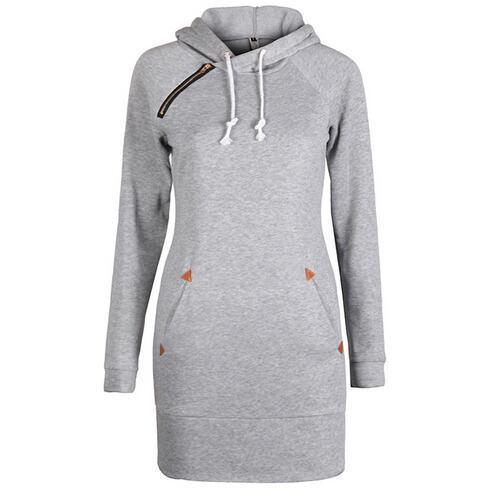 Warm Winter High Quality Hooded Dresses Pocket Long Sleeved Casual Mini Dress Sportwear Women-Dresses-iFashion (Hong Kong) Limited-light grey-S-EpicWorldStore.com