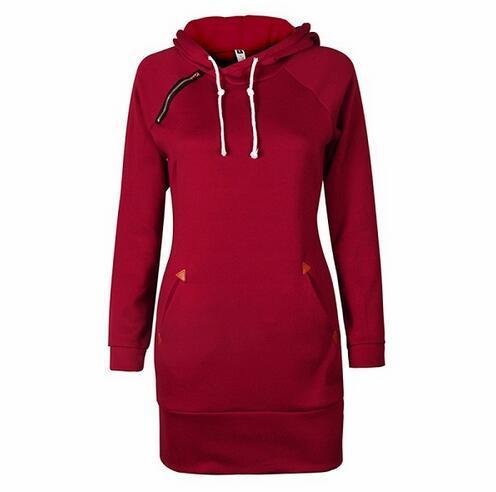 Warm Winter High Quality Hooded Dresses Pocket Long Sleeved Casual Mini Dress Sportwear Women-Dresses-iFashion (Hong Kong) Limited-wine red-S-EpicWorldStore.com