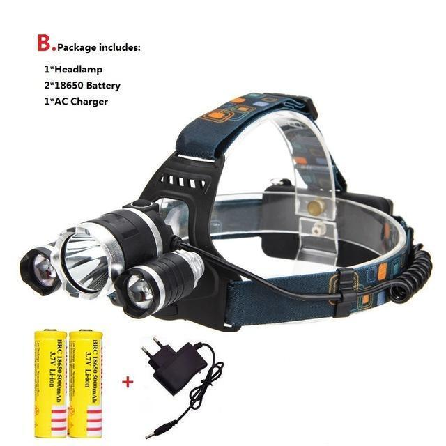 Waterproof Headlight Led Rechargeable 18650 Headlamp 10000Lm Light Head Lamp 1T6+2R5 Flashlight Of-Portable Lighting-POCKETMANchune Store-A Package-EpicWorldStore.com