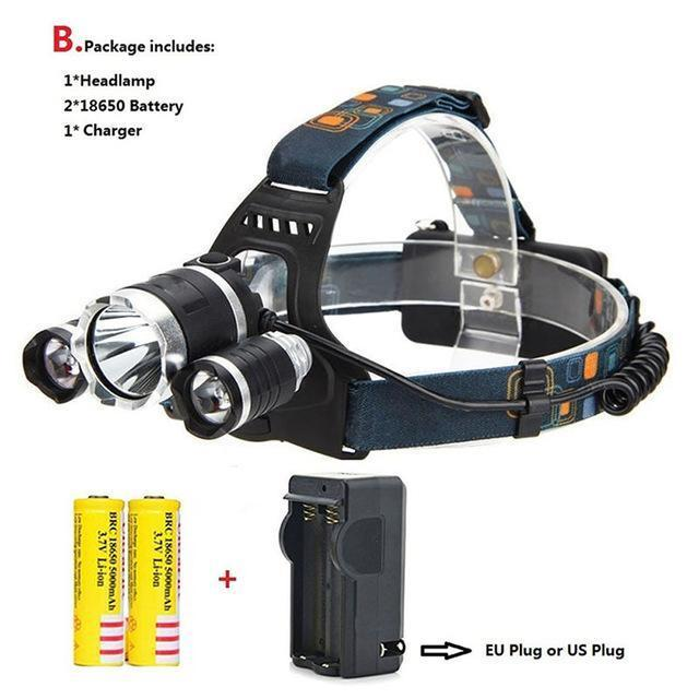 Waterproof Headlight Led Rechargeable 18650 Headlamp 10000Lm Light Head Lamp 1T6+2R5 Flashlight Of-Portable Lighting-POCKETMANchune Store-B Package-EpicWorldStore.com