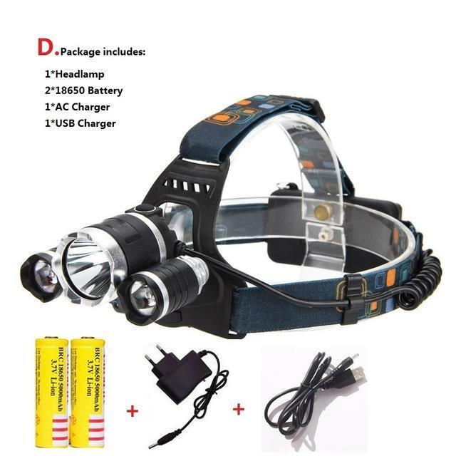 Waterproof Headlight Led Rechargeable 18650 Headlamp 10000Lm Light Head Lamp 1T6+2R5 Flashlight Of-Portable Lighting-POCKETMANchune Store-C Package-EpicWorldStore.com