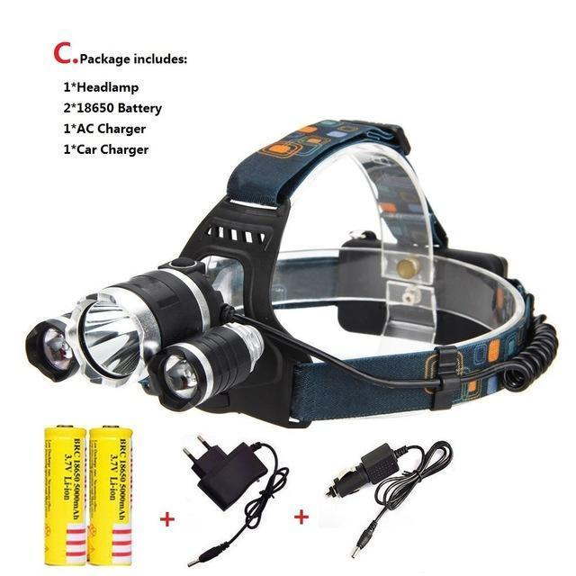 Waterproof Headlight Led Rechargeable 18650 Headlamp 10000Lm Light Head Lamp 1T6+2R5 Flashlight Of-Portable Lighting-POCKETMANchune Store-D Package-EpicWorldStore.com