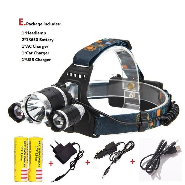 Waterproof Headlight Led Rechargeable 18650 Headlamp 10000Lm Light Head Lamp 1T6+2R5 Flashlight Of-Portable Lighting-POCKETMANchune Store-E Package-EpicWorldStore.com
