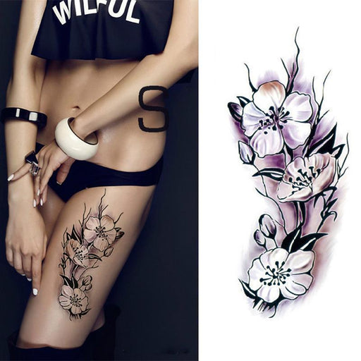 Waterproof Temporary Tattoos Stickers Stylish Romantic Dark Rose Flowers Henna Fake Body Art-Tattoo & Body Art-MANZILIN ALI Store-tbx020-EpicWorldStore.com