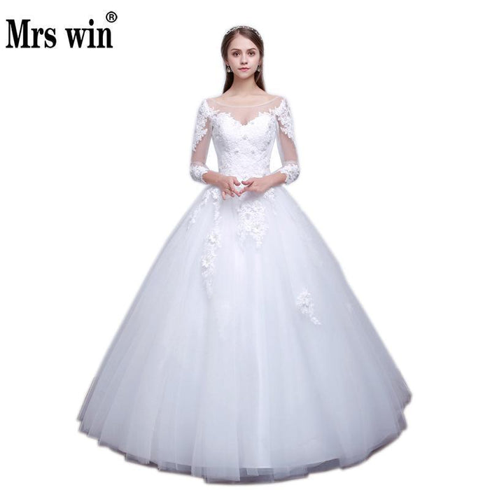 Wedding Dress The Bride Three Quarter Elegant Boat Neck Sweet Stereo ...