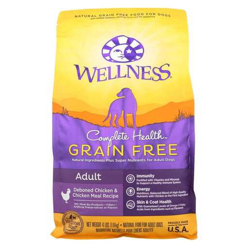 Wellness Pet Products Dog Food - Grain Free - Chicken Recipe - Case Of 6 - 4 Lb.-Eco-Friendly Home & Grocery-Wellness Pet Products-EpicWorldStore.com