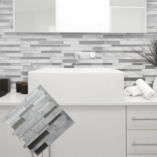 White Grey Marble Mosaic Peel And Stick Wall Tile Self Adhesive Backsplash Diy Kitchen Bathroom Home-Wall Stickers-Chinaimage Store-EpicWorldStore.com