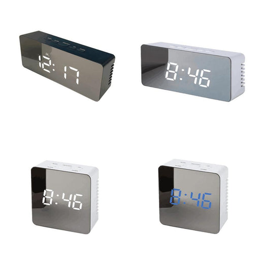 Wholesale Mirror Digital Led Alarm Clock Night Lights Thermometer Wall Clock Lamp Square Rectangle-Alarm Clocks-House Applied Store-14x5.5x3.6(cm)-EpicWorldStore.com