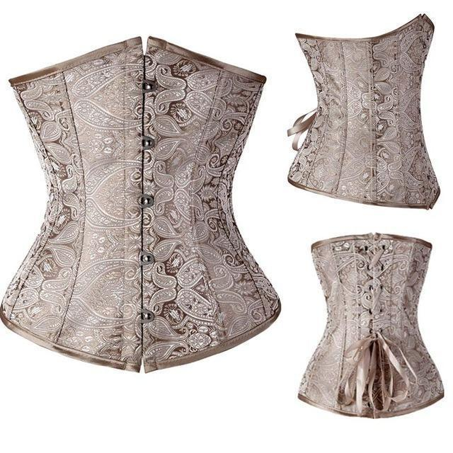 Wholesale Women Stylish Underbust Waist Corset Bustier Body Shape Lace Up Tummy Embroidery Plus Size-Bustiers & Corsets-The best corset-Beige-S-EpicWorldStore.com
