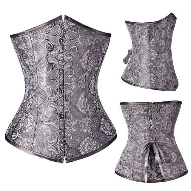 Wholesale Women Stylish Underbust Waist Corset Bustier Body Shape Lace Up Tummy Embroidery Plus Size-Bustiers & Corsets-The best corset-Silve-S-EpicWorldStore.com