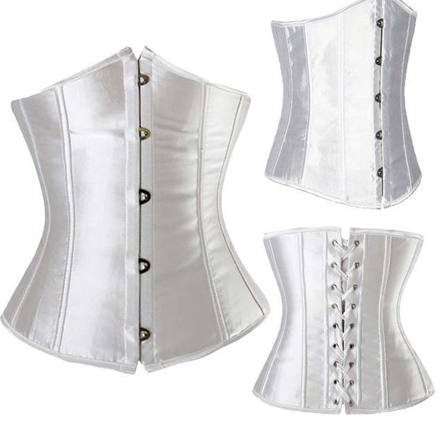 Wholesale Women Stylish Underbust Waist Corset Bustier Body Shape Lace Up Tummy Embroidery Plus Size-Bustiers & Corsets-The best corset-White 2-S-EpicWorldStore.com