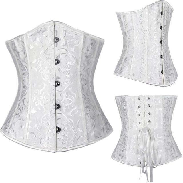 Wholesale Women Stylish Underbust Waist Corset Bustier Body Shape Lace Up Tummy Embroidery Plus Size-Bustiers & Corsets-The best corset-White3-S-EpicWorldStore.com