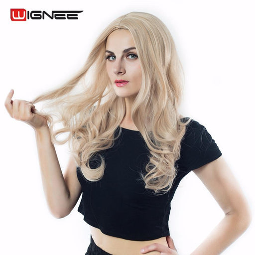 Wignee Mixed Ash Blonde Middle Part Long Wavy Wig High Temperature Body Wave Synthetic Wigs For-Wignee Hair Store-Natural Black-EpicWorldStore.com
