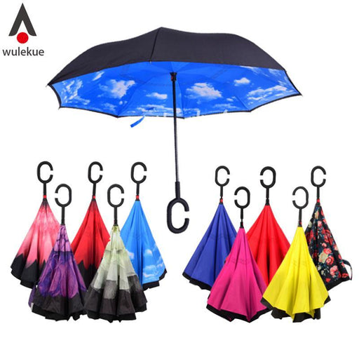 Windproof Reverse Folding Double Layer Inverted Chuva Umbrella Self Stand Inside Out Rain Protection-Household Merchandises-Wulekue Store-Red-EpicWorldStore.com