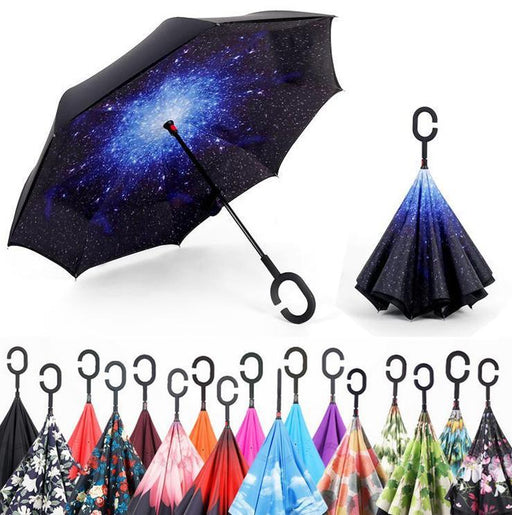 Windproof Reverse Folding Double Layer Inverted Umbrella Self Stand Rain/Sun Women/Men High-Household Merchandises-Mosaic painting Store-red-EpicWorldStore.com