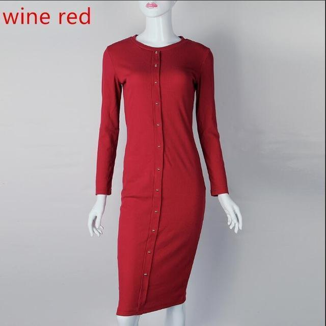 Winter Autumn Work Style Women Bodycon Dresses Stylish Casual Warm Long Sleeve Stretchy Sleeve-Dresses-SF Apparel Store-wine red-S-EpicWorldStore.com