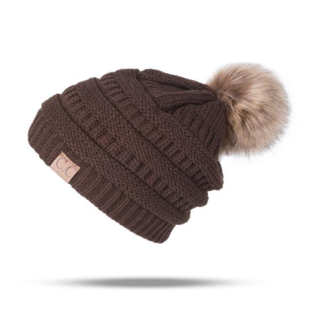 Winter Brand Female Ball Cap Pom Poms Winter Hat For Women Girl 'S Hat Knitted Beanies Cap Hat Thick-Accessories-LuLu Ya Store-Brown-EpicWorldStore.com