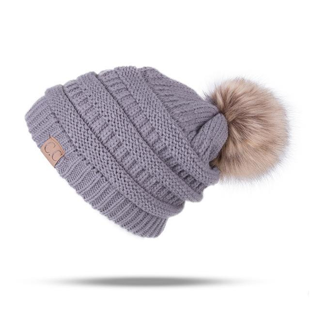 Winter Brand Female Ball Cap Pom Poms Winter Hat For Women Girl 'S Hat Knitted Beanies Cap Hat Thick-Accessories-LuLu Ya Store-Gray-EpicWorldStore.com