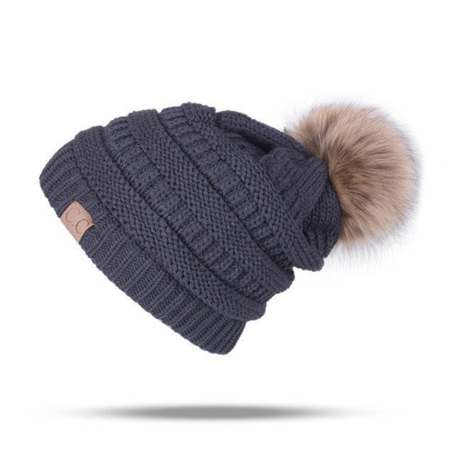 Winter Brand Female Ball Cap Pom Poms Winter Hat For Women Girl 'S Hat Knitted Beanies Cap Hat Thick-Accessories-LuLu Ya Store-GrayDark-EpicWorldStore.com