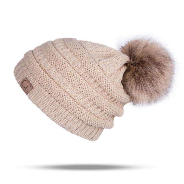 Winter Brand Female Ball Cap Pom Poms Winter Hat For Women Girl 'S Hat Knitted Beanies Cap Hat Thick-Accessories-LuLu Ya Store-Khaki-EpicWorldStore.com