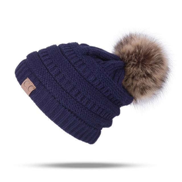 Winter Brand Female Ball Cap Pom Poms Winter Hat For Women Girl 'S Hat Knitted Beanies Cap Hat Thick-Accessories-LuLu Ya Store-Navy-EpicWorldStore.com