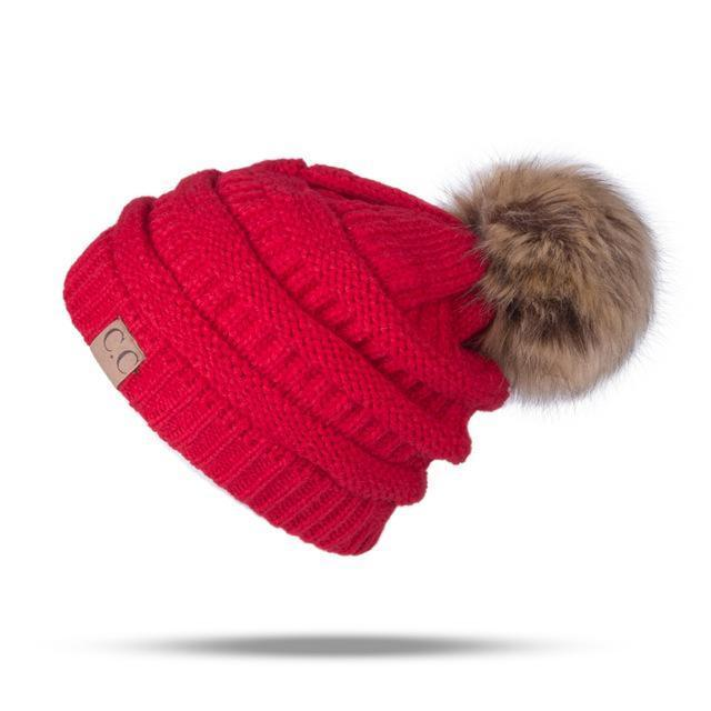 Winter Brand Female Ball Cap Pom Poms Winter Hat For Women Girl 'S Hat Knitted Beanies Cap Hat Thick-Accessories-LuLu Ya Store-Red-EpicWorldStore.com