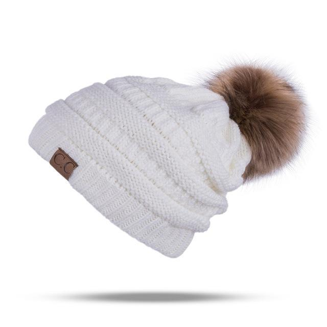 Winter Brand Female Ball Cap Pom Poms Winter Hat For Women Girl 'S Hat Knitted Beanies Cap Hat Thick-Accessories-LuLu Ya Store-White-EpicWorldStore.com