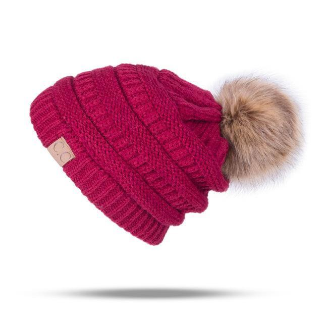 Winter Brand Female Ball Cap Pom Poms Winter Hat For Women Girl 'S Hat Knitted Beanies Cap Hat Thick-Accessories-LuLu Ya Store-WineRed-EpicWorldStore.com