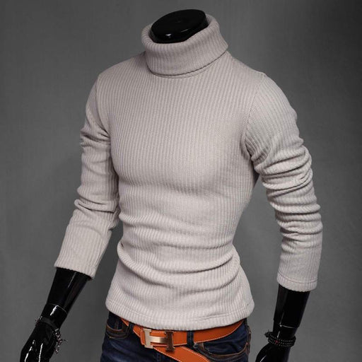 Winter High Neck Thick Warm Sweater Men Turtleneck Brand Mens Sweaters Slim Fit Pullover Men-Pullovers-Coolmen Store-black-M-EpicWorldStore.com