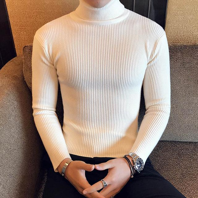 Winter High Neck Thick Warm Sweater Men Turtleneck Brand Mens Sweaters Slim Fit Pullover Men-Sweaters-king-world international trade co.,LTD-7206 Beige-S-EpicWorldStore.com