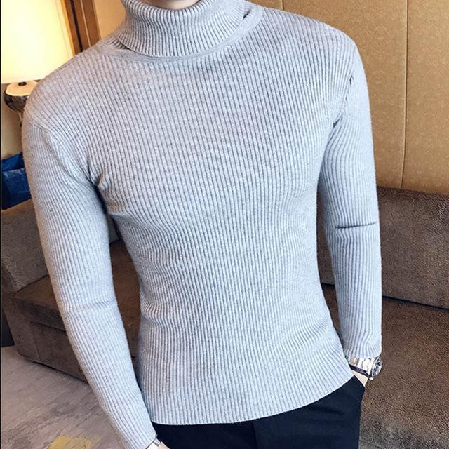 Winter High Neck Thick Warm Sweater Men Turtleneck Brand Mens Sweaters Slim Fit Pullover Men-Sweaters-king-world international trade co.,LTD-7206 grey-S-EpicWorldStore.com