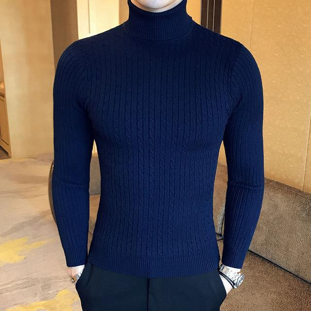 Winter High Neck Thick Warm Sweater Men Turtleneck Brand Mens Sweaters Slim Fit Pullover Men-Sweaters-king-world international trade co.,LTD-997 dark blue-S-EpicWorldStore.com