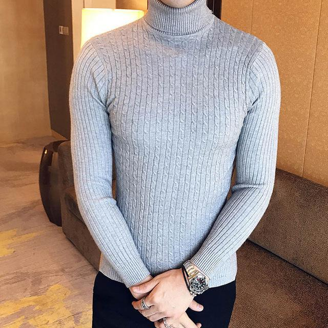 Winter High Neck Thick Warm Sweater Men Turtleneck Brand Mens Sweaters Slim Fit Pullover Men-Sweaters-king-world international trade co.,LTD-997 grey-S-EpicWorldStore.com