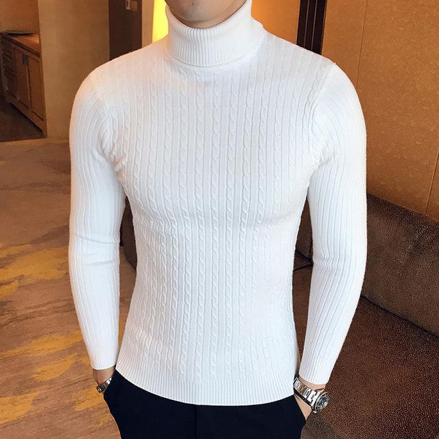 Winter High Neck Thick Warm Sweater Men Turtleneck Brand Mens Sweaters Slim Fit Pullover Men-Sweaters-king-world international trade co.,LTD-997 white-S-EpicWorldStore.com