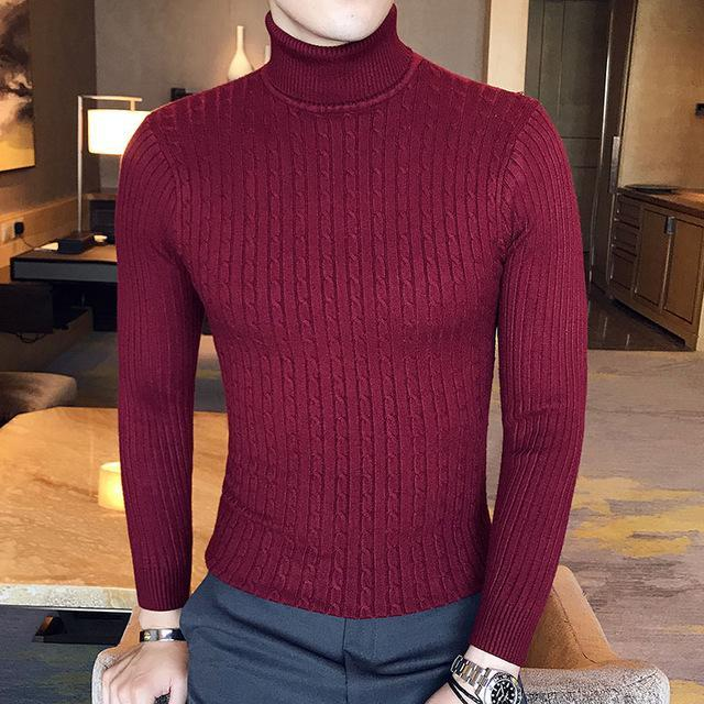 Winter High Neck Thick Warm Sweater Men Turtleneck Brand Mens Sweaters Slim Fit Pullover Men-Sweaters-king-world international trade co.,LTD-997 wine red-S-EpicWorldStore.com