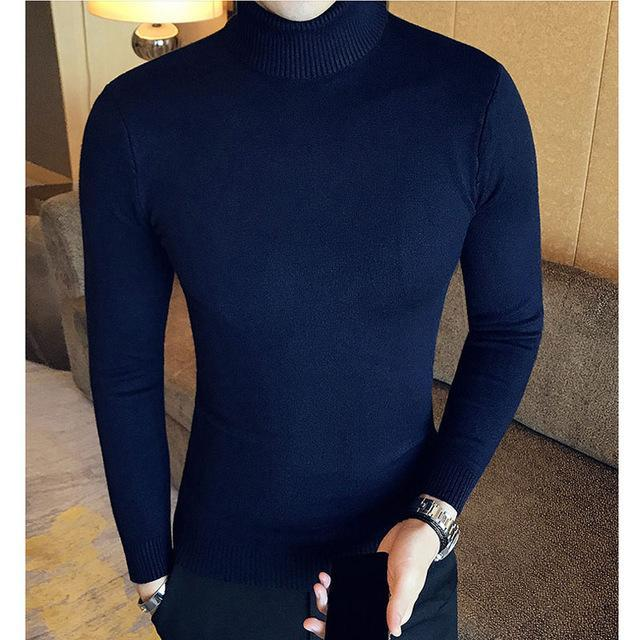 Winter High Neck Thick Warm Sweater Men Turtleneck Brand Mens Sweaters Slim Fit Pullover Men-Sweaters-king-world international trade co.,LTD-MG03 dark blue-S-EpicWorldStore.com