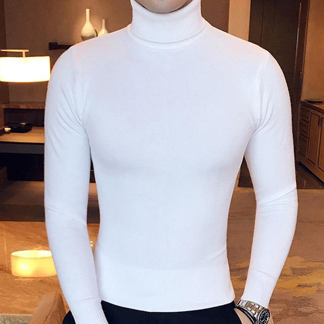 Winter High Neck Thick Warm Sweater Men Turtleneck Brand Mens Sweaters Slim Fit Pullover Men-Sweaters-king-world international trade co.,LTD-MG03 white-S-EpicWorldStore.com